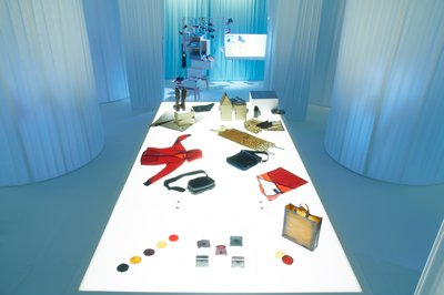 A large light box with a series of objects and garments laid out.
