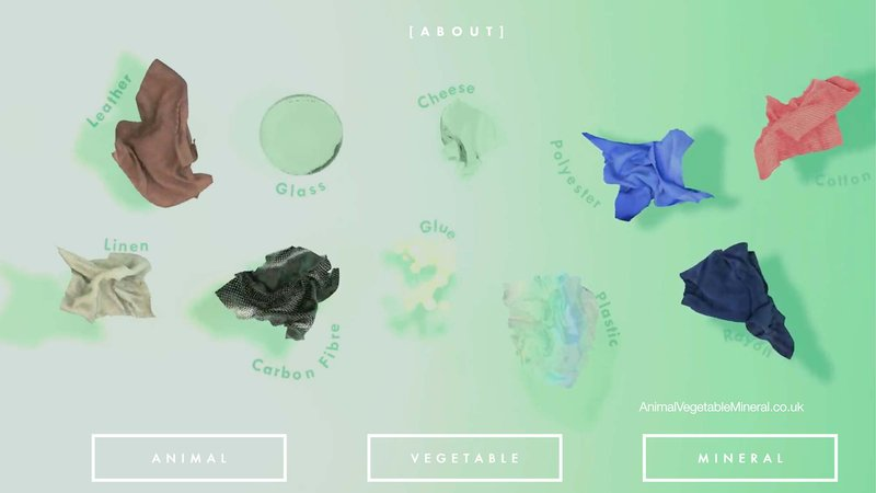 A series of samples on a green background with the worlds 'Animal, Vegetable and Mineral' in boxes