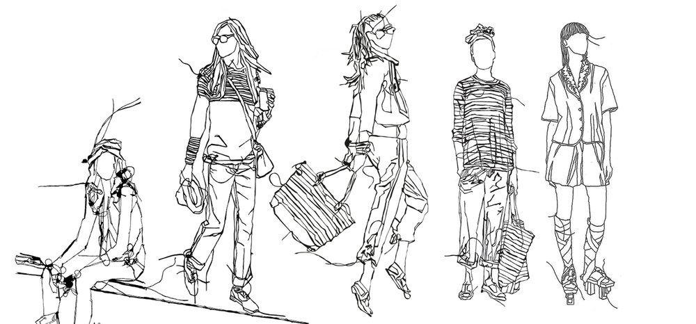 A series of sketches of a women in different outfits