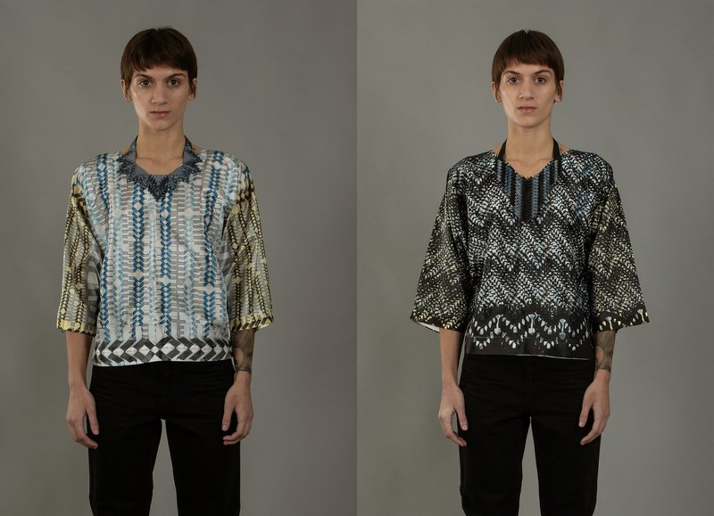 Two images of a women wearing  a printed shirt