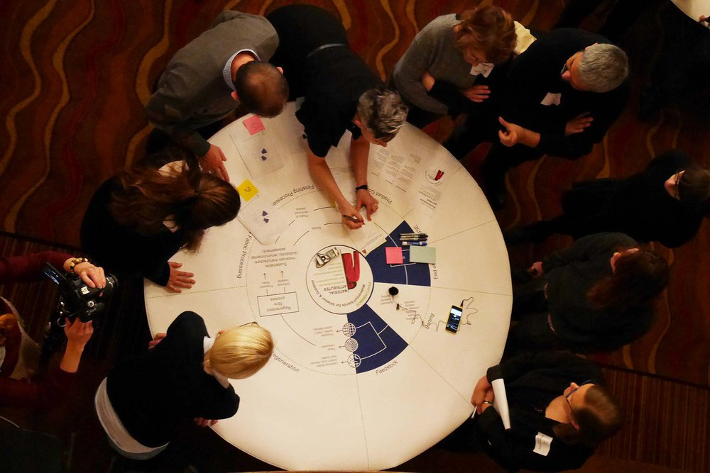 An overhead photo of people standing around a round table filling in a work sheet
