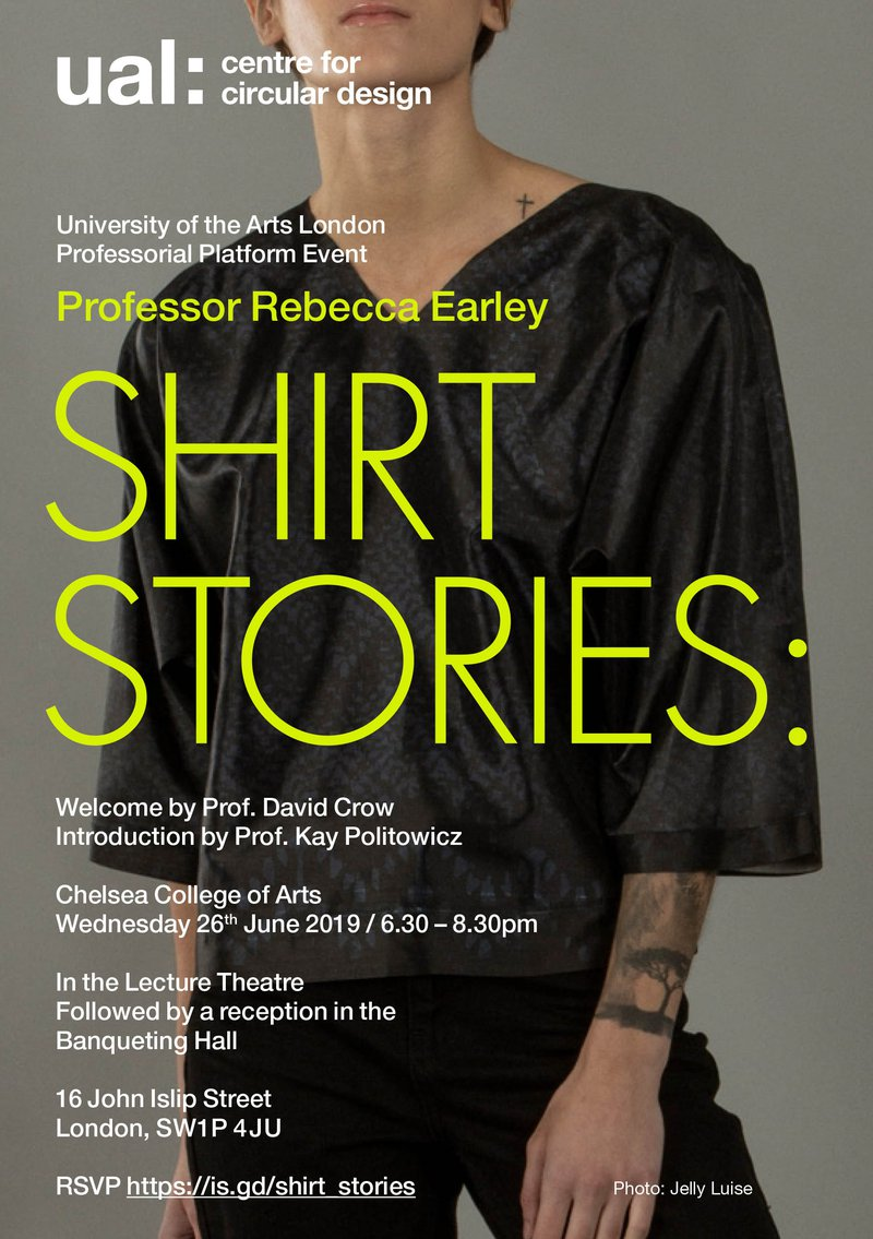A poster adveritisng 'Professor Rebecca Earley, Shirt Stories' with a picture of a girl in a black shirt.